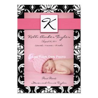 Damask Girl Birth Announcement Monogram Pink