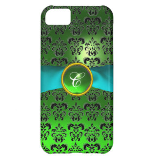DAMASK GIRLY MONOGRAM green aqua blue ribbon iPhone 5C Case