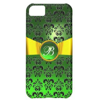 DAMASK GIRLY MONOGRAM green gold yellow ribbon iPhone 5C Cover