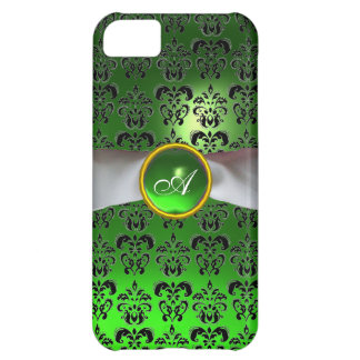 DAMASK GIRLY MONOGRAM green white ribbon iPhone 5C Cover