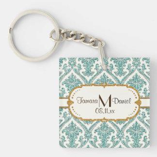 damask glitter keychain