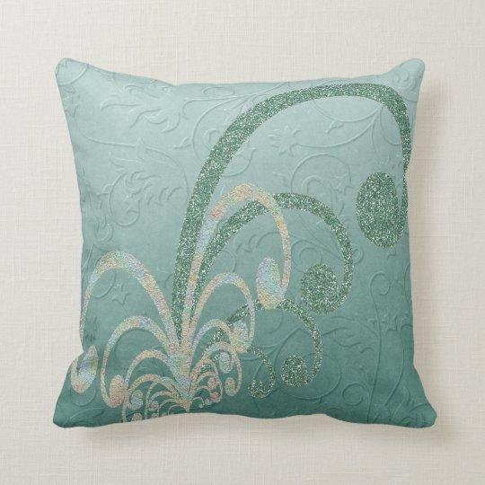 Damask Glitter Ornamentals Throw Pillow