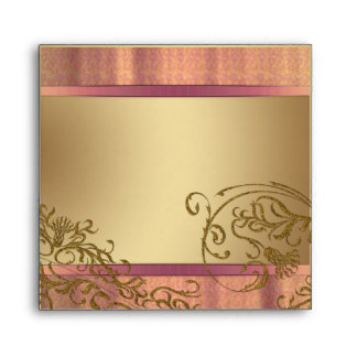 Damask gold and pink Wedding Envelopes 2