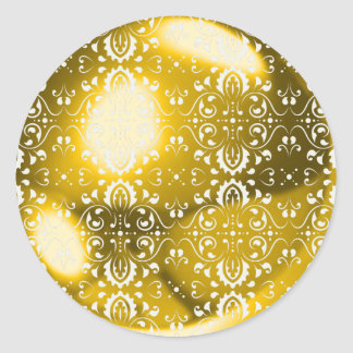 Damask gold ball classic round sticker