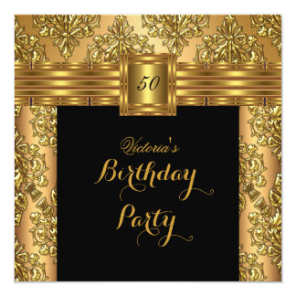 Damask Gold Black Belt Buckle Birthday Party 2 Card