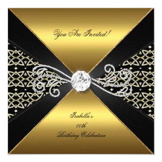 Damask Gold Black Diamond Gem Birthday Party 5.25x5.25 Square Paper Invitation Card
