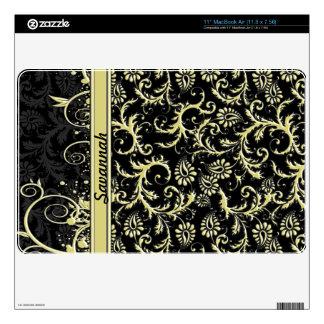 Damask Gold & Black Personalized MacBook MacBook Air Decals