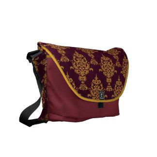 Damask Gold Burgundy Darker Courier Bag