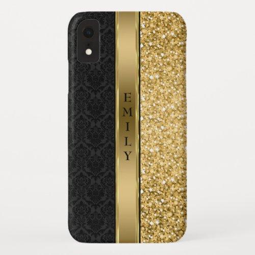 Damask & Gold Glitter Phone Case