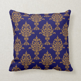 Damask Gold on Blue Throw Pillow