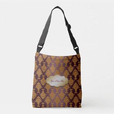 linda_mn Damask Gold on Burgundy Label Crossbody Bag