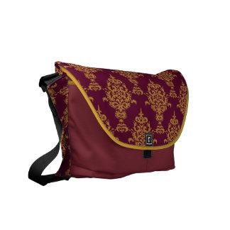 Damask Gold on Burgundy Messenger Bag