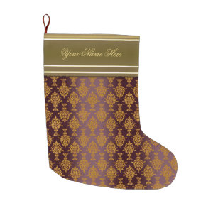 Victorian Christmas Stockings.Damask Gold On Burgundy Victorian Large Christmas Stocking