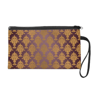 Damask Gold on Burgundy Wristlet Purse