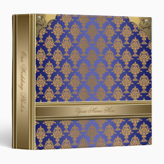 Damask Gold on Royal Blue 3 Ring Binder