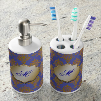 Damask Gold on Royal Blue Bath Set. Royal Blue Bath Sets   Zazzle