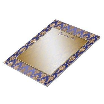 linda_mn Damask Gold on Royal Blue Borders Notepad