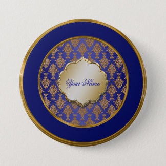 Damask Gold on Royal Blue Button