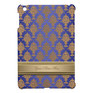 Damask Gold on Royal Blue Cover For The iPad Mini