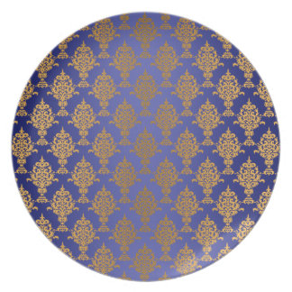 Damask Gold on Royal Blue Dinner Plate