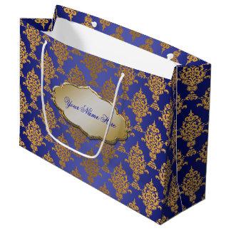 Damask Gold on Royal Blue Large Gift Bag