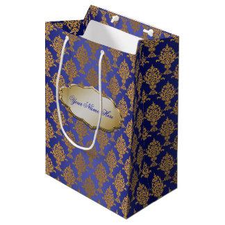 Damask Gold on Royal Blue Medium Gift Bag
