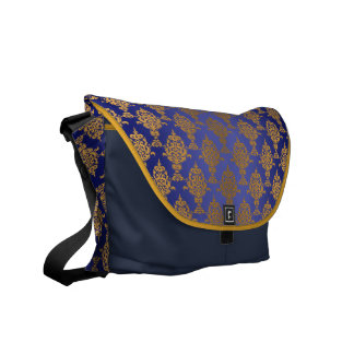 Damask Gold on Royal Blue Messenger Bag