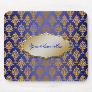 Damask Gold on Royal Blue Mouse Pad