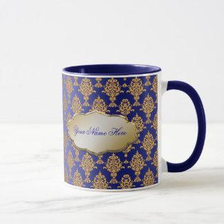 Damask Gold on Royal Blue Mug