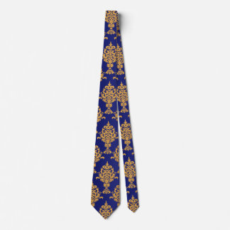 Damask Gold on Royal Blue Neck Tie