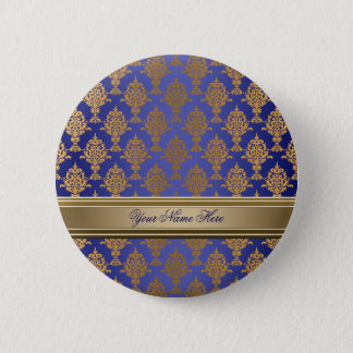 Damask Gold on Royal Blue Pinback Button