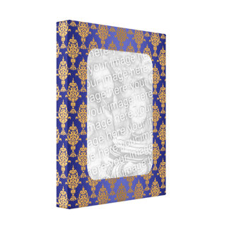 Damask Gold on Royal Blue Shine Gallery Wrapped Canvas