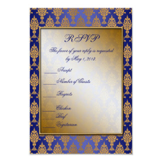 Damask Gold on Royal Blue Shine 3.5x5 Paper Invitation Card