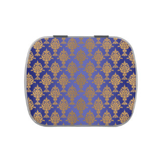 Damask Gold on Royal Blue Shine Jelly Belly Tins