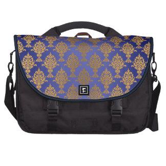 Damask Gold on Royal Blue Shine Laptop Messenger Bag