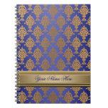 Damask Gold on Royal Blue Shine Spiral Note Books