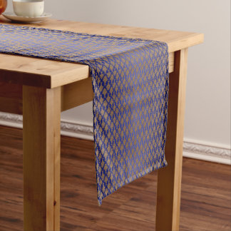 Damask Gold on Royal Blue Short Table Runner