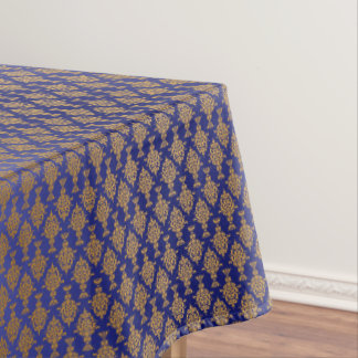 Damask Gold on Royal Blue Tablecloth