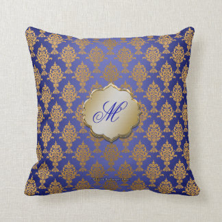 Damask Gold on Royal Blue Throw Pillow