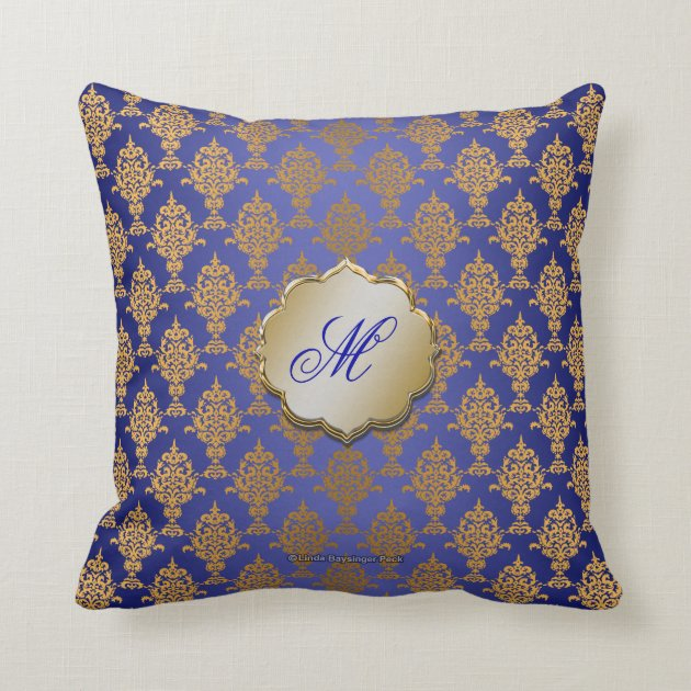 Gold Damask Throw Pillow : Damask Gold on Royal Blue Throw Pillow Zazzle