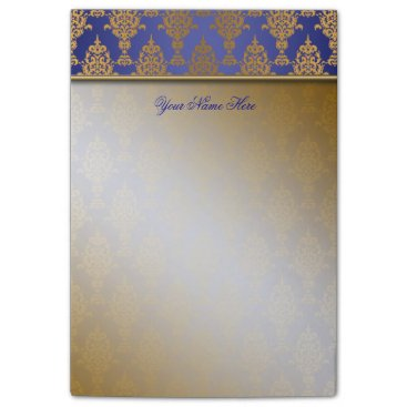 Linda_MN Damask Gold on Royal Blue Top Border Post-it Notes