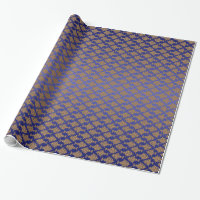 Damask Gold on Royal Blue Wrapping Paper
