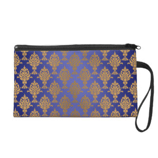Damask Gold on Royal Blue Wristlet