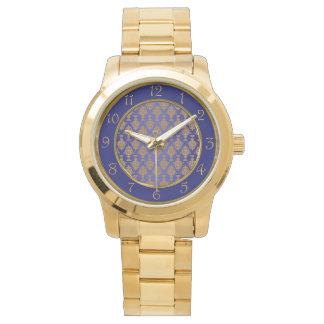Damask Gold on Royal Blue Wristwatch