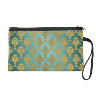 Damask Gold on Teal Green Wristlet Purse