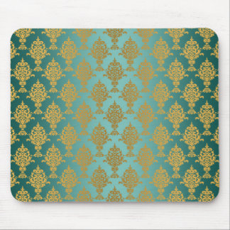 Damask Gold on Teal Mouse Pad