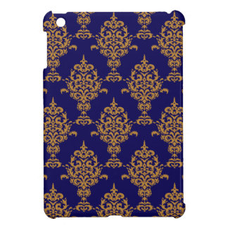 Damask Gold Royal Blue Cover For The iPad Mini