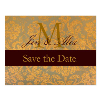 Damask Gold Save the Date Monogram Annoncement Postcard