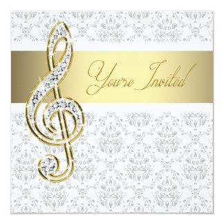 """Damask Gold Treble Clef Music Recital Invitations 5.25"""" Square Invitation Card"""