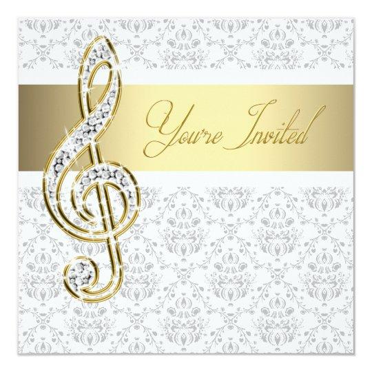 damask gold treble clef music recital invitations zazzle com